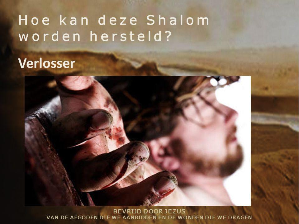 BEVRIJD DOOR JEZUS VAN DE AFGODEN DIE WE AANBIDDEN EN DE WONDEN DIE WE DRAGEN Hoe kan deze Shalom worden hersteld? Verlosser