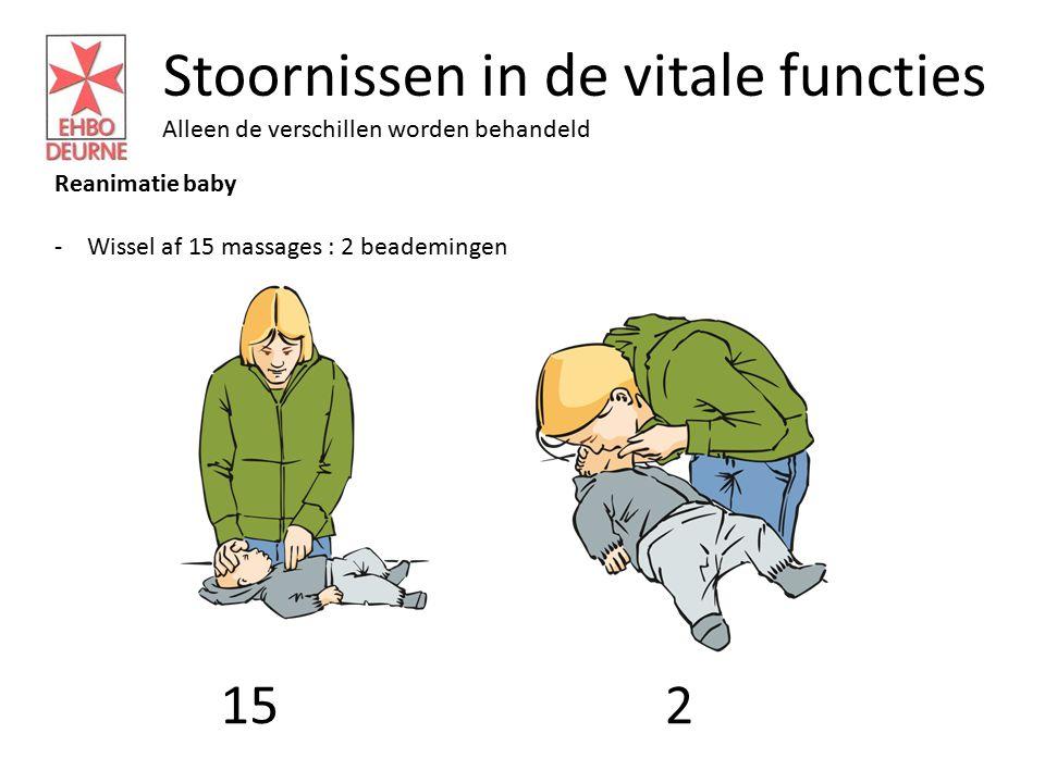 Stoornissen in de vitale functies Alleen de verschillen worden behandeld Reanimatie baby -Wissel af 15 massages : 2 beademingen 152