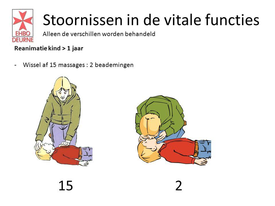 Stoornissen in de vitale functies Alleen de verschillen worden behandeld Reanimatie kind > 1 jaar -Wissel af 15 massages : 2 beademingen 152