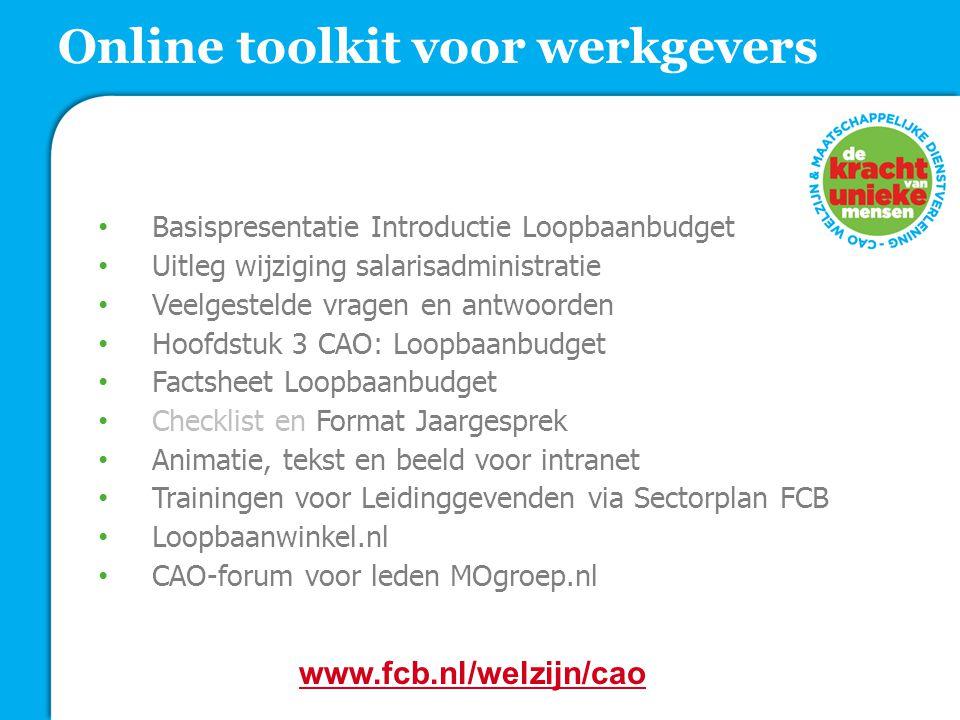 Basispresentatie Introductie Loopbaanbudget Uitleg wijziging salarisadministratie Veelgestelde vragen en antwoorden Hoofdstuk 3 CAO: Loopbaanbudget Fa