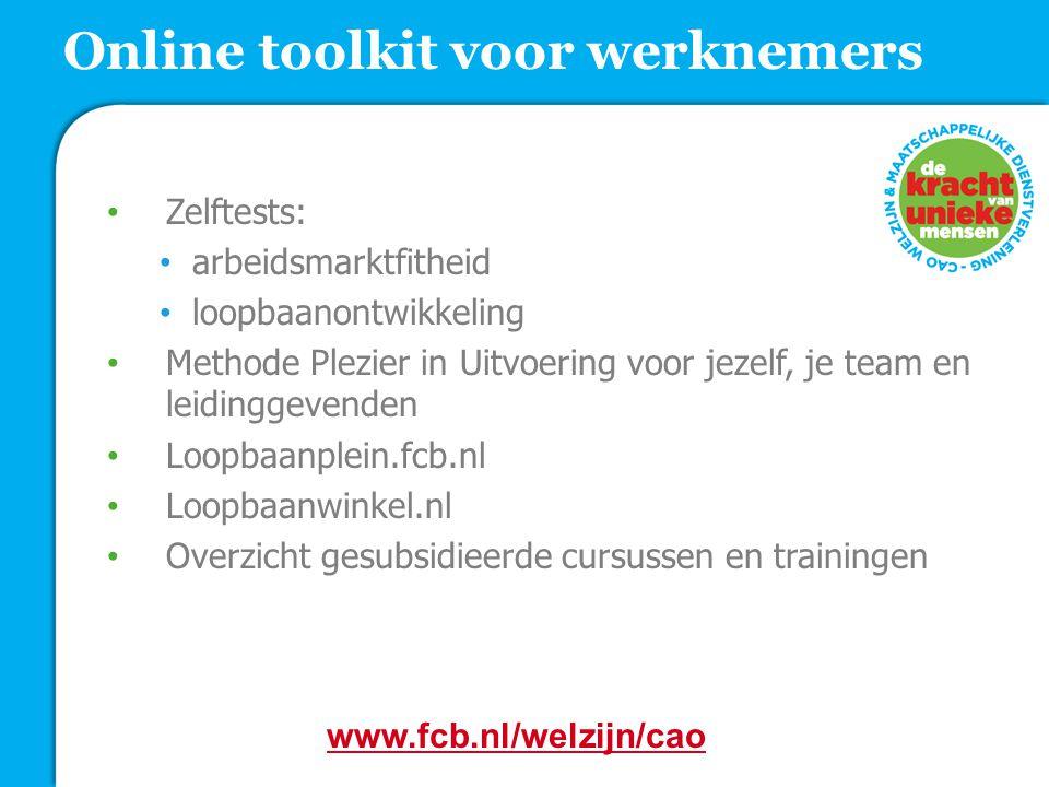Zelftests: arbeidsmarktfitheid loopbaanontwikkeling Methode Plezier in Uitvoering voor jezelf, je team en leidinggevenden Loopbaanplein.fcb.nl Loopbaa