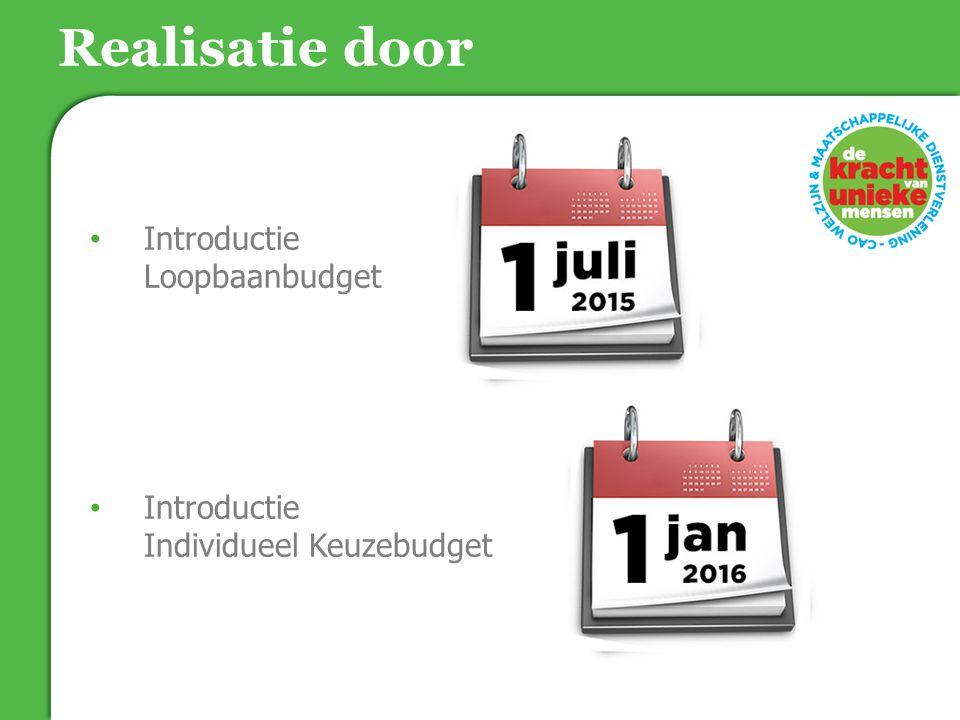 Introductie Loopbaanbudget Introductie Individueel Keuzebudget Realisatie door