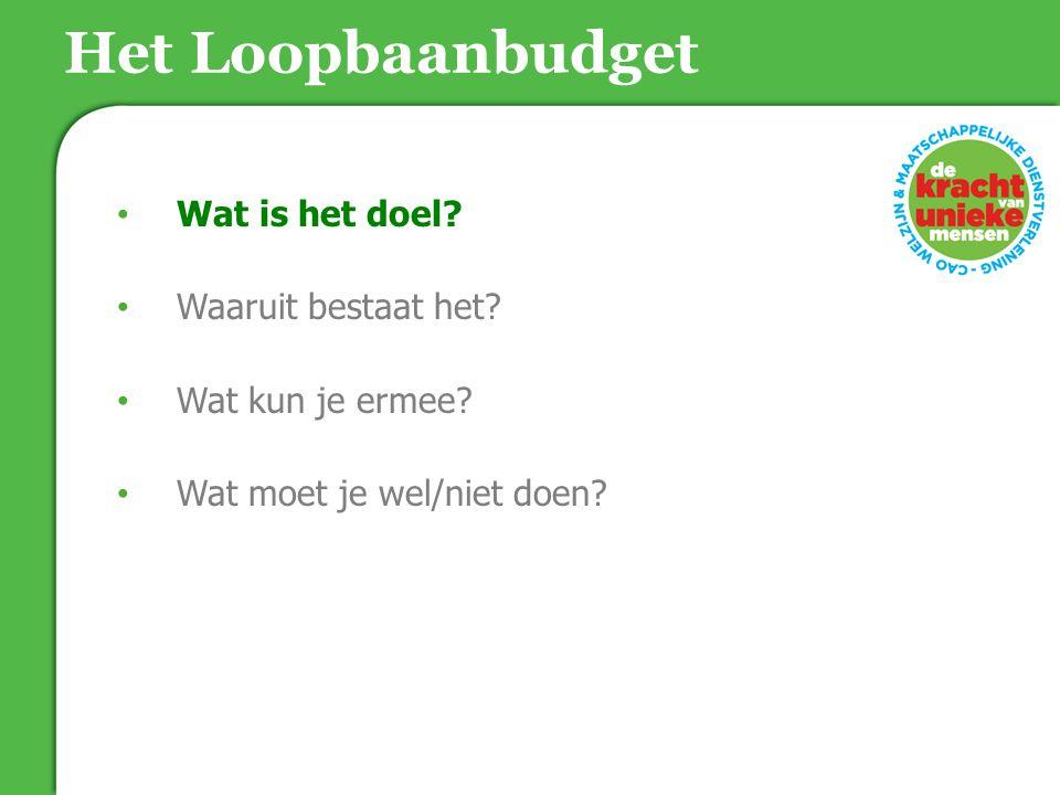Maar eerst een kort filmpje Intro video Loopbaanbudget