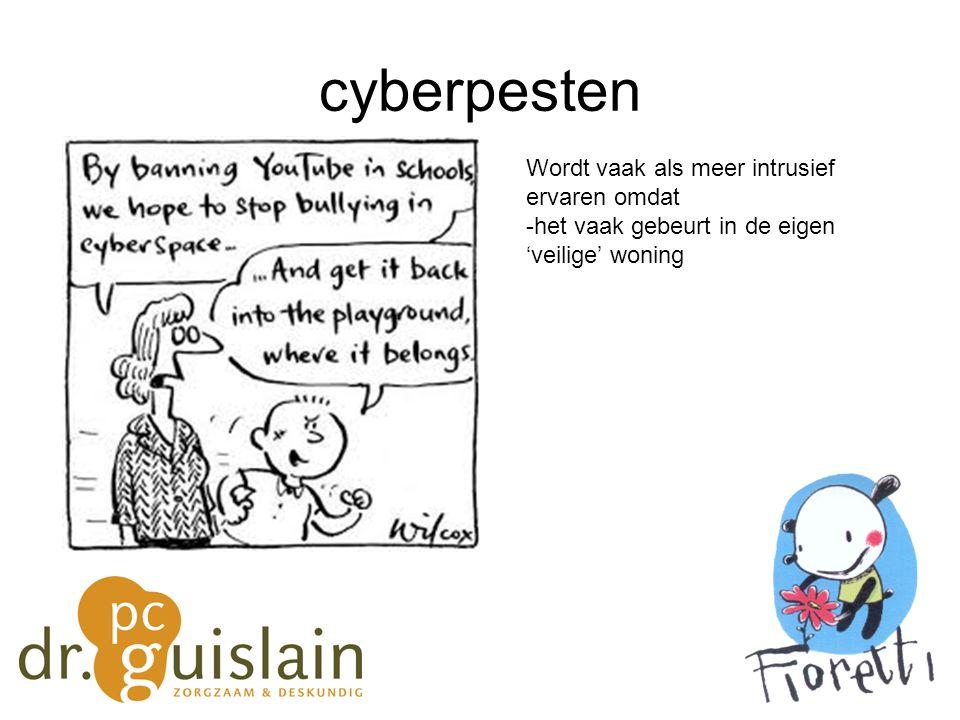 cyberpesten Wordt vaak als meer intrusief ervaren omdat -het vaak gebeurt in de eigen 'veilige' woning