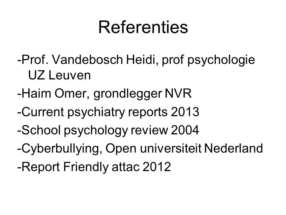 Referenties -Prof. Vandebosch Heidi, prof psychologie UZ Leuven -Haim Omer, grondlegger NVR -Current psychiatry reports 2013 -School psychology review