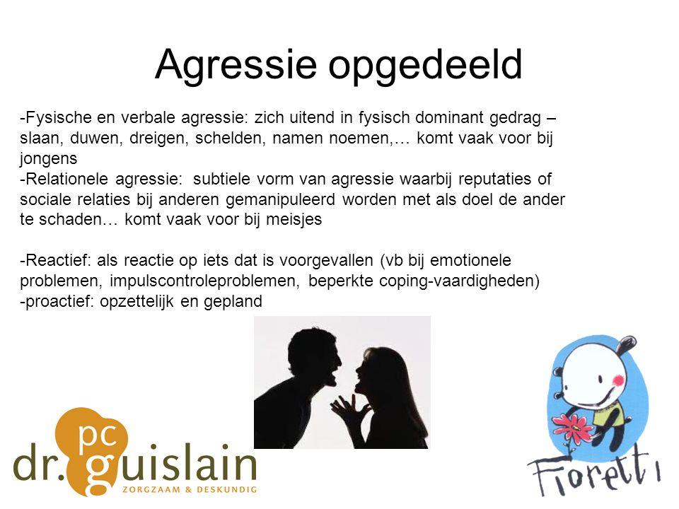 Agressie opgedeeld -Fysische en verbale agressie: zich uitend in fysisch dominant gedrag – slaan, duwen, dreigen, schelden, namen noemen,… komt vaak v