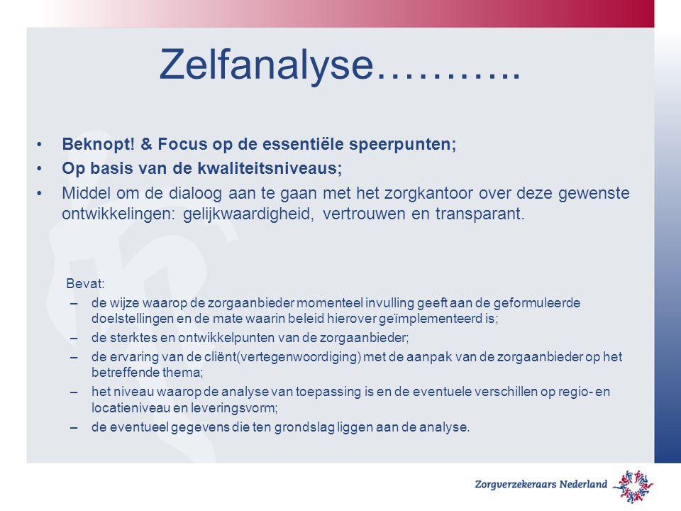 Zelfanalyse……….. Beknopt! & Focus op de essentiële speerpunten; Op basis van de kwaliteitsniveaus; Middel om de dialoog aan te gaan met het zorgkantoo