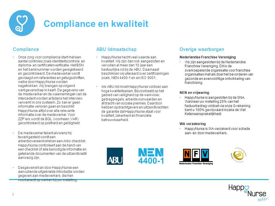 Compliance Onze zorg voor compliance start met een aantal controles zoals identiteitscontrole en diploma- en certificatenverificatie. Het BSN en het b