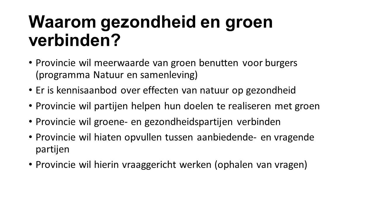 Waarom gezondheid en groen verbinden? Provincie wil meerwaarde van groen benutten voor burgers (programma Natuur en samenleving) Er is kennisaanbod ov