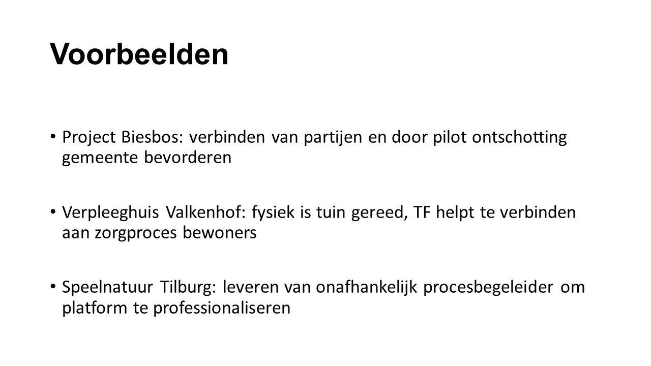 Voorbeelden Project Biesbos: verbinden van partijen en door pilot ontschotting gemeente bevorderen Verpleeghuis Valkenhof: fysiek is tuin gereed, TF h