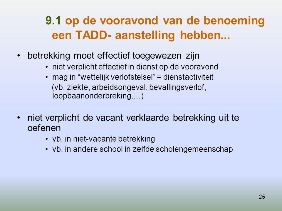 25 9.1 op de vooravond van de benoeming een TADD- aanstelling hebben... betrekking moet effectief toegewezen zijn niet verplicht effectief in dienst o