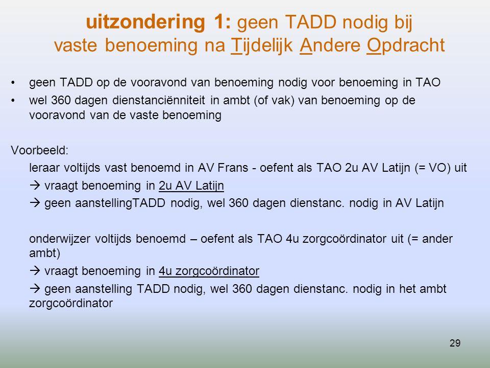 29 uitzondering 1: geen TADD nodig bij vaste benoeming na Tijdelijk Andere Opdracht geen TADD op de vooravond van benoeming nodig voor benoeming in TA