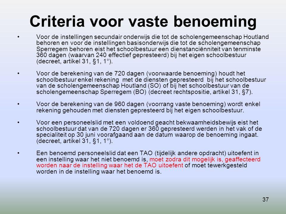 Criteria voor vaste benoeming 37 Voor de instellingen secundair onderwijs die tot de scholengemeenschap Houtland behoren en voor de instellingen basis
