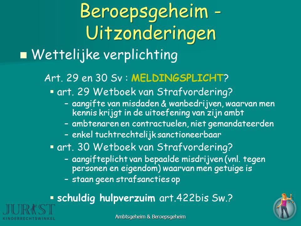 Beroepsgeheim - Uitzonderingen Wettelijke verplichting Art.
