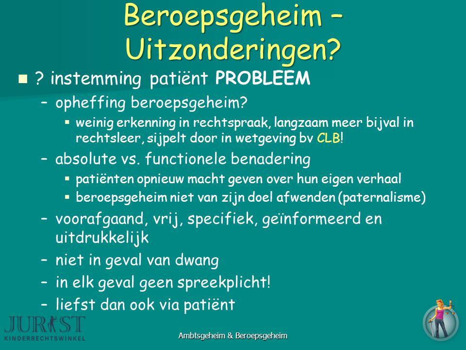 Beroepsgeheim – Uitzonderingen.instemming patiënt PROBLEEM – –opheffing beroepsgeheim.