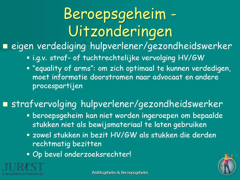 """Beroepsgeheim - Uitzonderingen eigen verdediging hulpverlener/gezondheidswerker   i.g.v. straf- of tuchtrechtelijke vervolging HV/GW   """"equality o"""