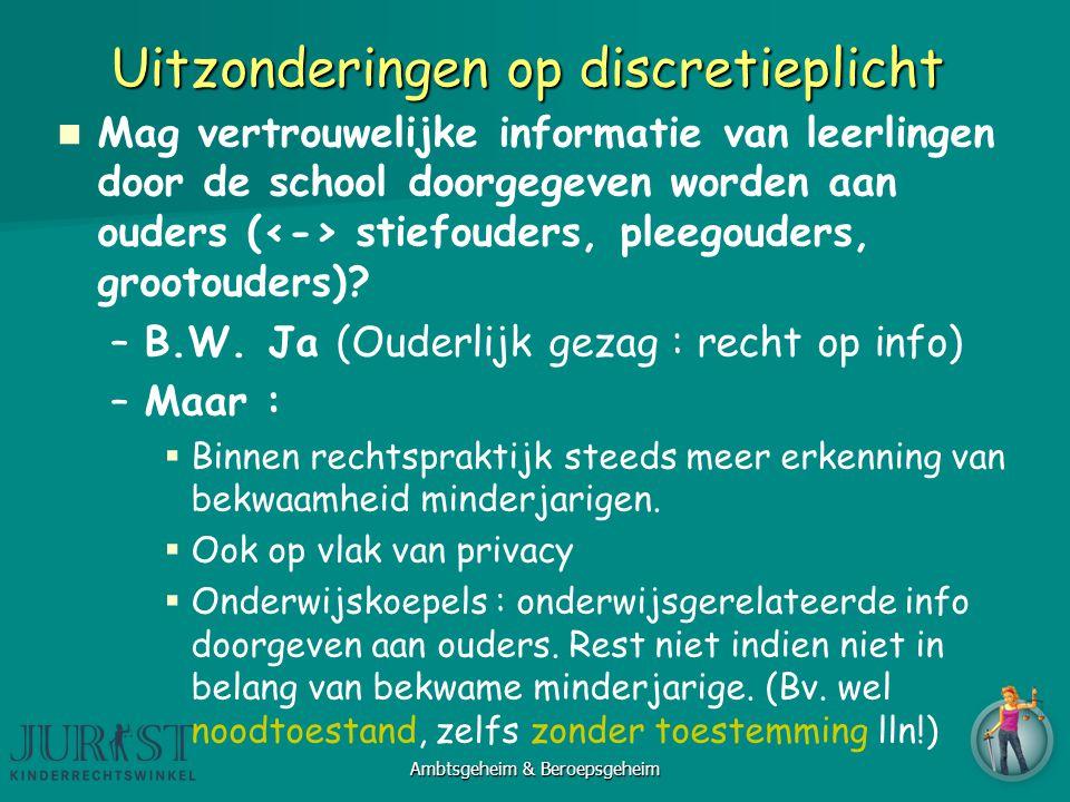 Uitzonderingen op discretieplicht Mag vertrouwelijke informatie van leerlingen door de school doorgegeven worden aan ouders ( stiefouders, pleegouders