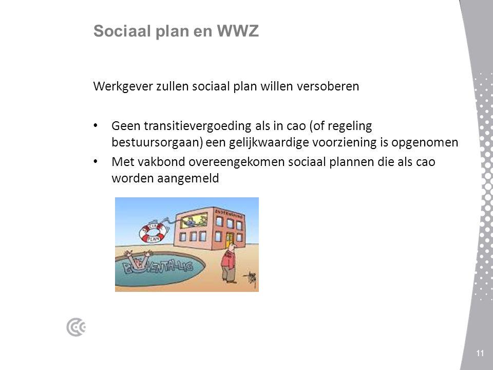 Sociaal plan en WWZ Werkgever zullen sociaal plan willen versoberen Geen transitievergoeding als in cao (of regeling bestuursorgaan) een gelijkwaardige voorziening is opgenomen Met vakbond overeengekomen sociaal plannen die als cao worden aangemeld 11