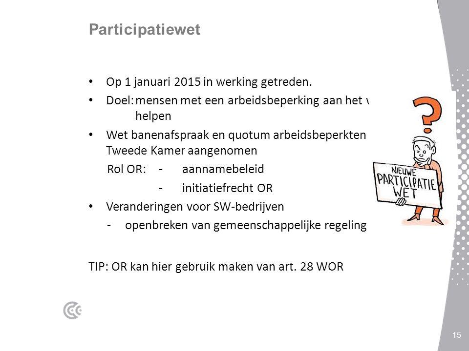 Participatiewet Op 1 januari 2015 in werking getreden.