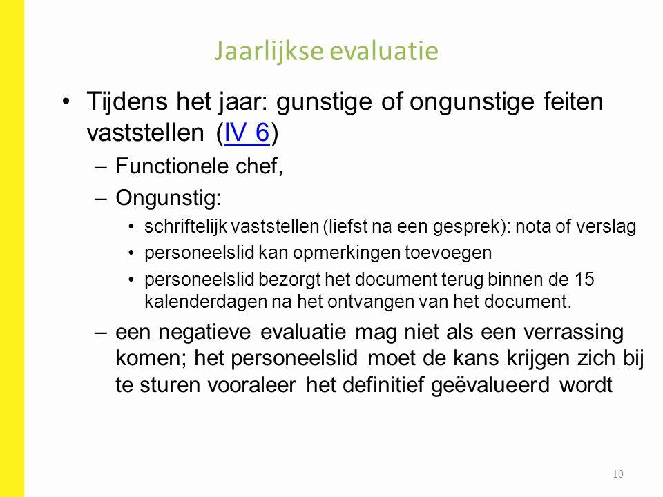 Tijdens het jaar: gunstige of ongunstige feiten vaststellen (IV 6)IV 6 –Functionele chef, –Ongunstig: schriftelijk vaststellen (liefst na een gesprek)