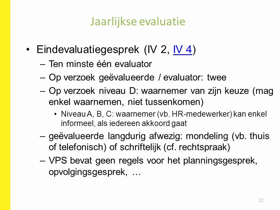 Eindevaluatiegesprek (IV 2, IV 4)IV 4 –Ten minste één evaluator –Op verzoek geëvalueerde / evaluator: twee –Op verzoek niveau D: waarnemer van zijn ke
