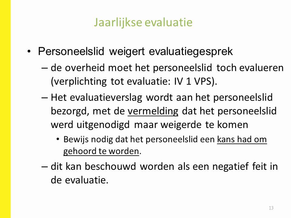 Personeelslid weigert evaluatiegesprek – de overheid moet het personeelslid toch evalueren (verplichting tot evaluatie: IV 1 VPS). – Het evaluatievers