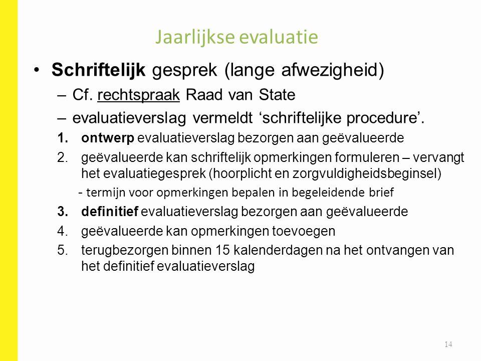 Schriftelijk gesprek (lange afwezigheid) –Cf. rechtspraak Raad van State –evaluatieverslag vermeldt 'schriftelijke procedure'. 1.ontwerp evaluatievers