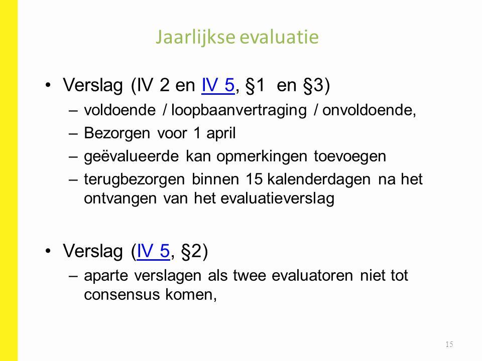 Verslag (IV 2 en IV 5, §1 en §3)IV 5 –voldoende / loopbaanvertraging / onvoldoende, –Bezorgen voor 1 april –geëvalueerde kan opmerkingen toevoegen –te