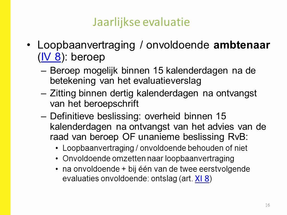 Jaarlijkse evaluatie Loopbaanvertraging / onvoldoende ambtenaar (IV 8): beroepIV 8 –Beroep mogelijk binnen 15 kalenderdagen na de betekening van het e