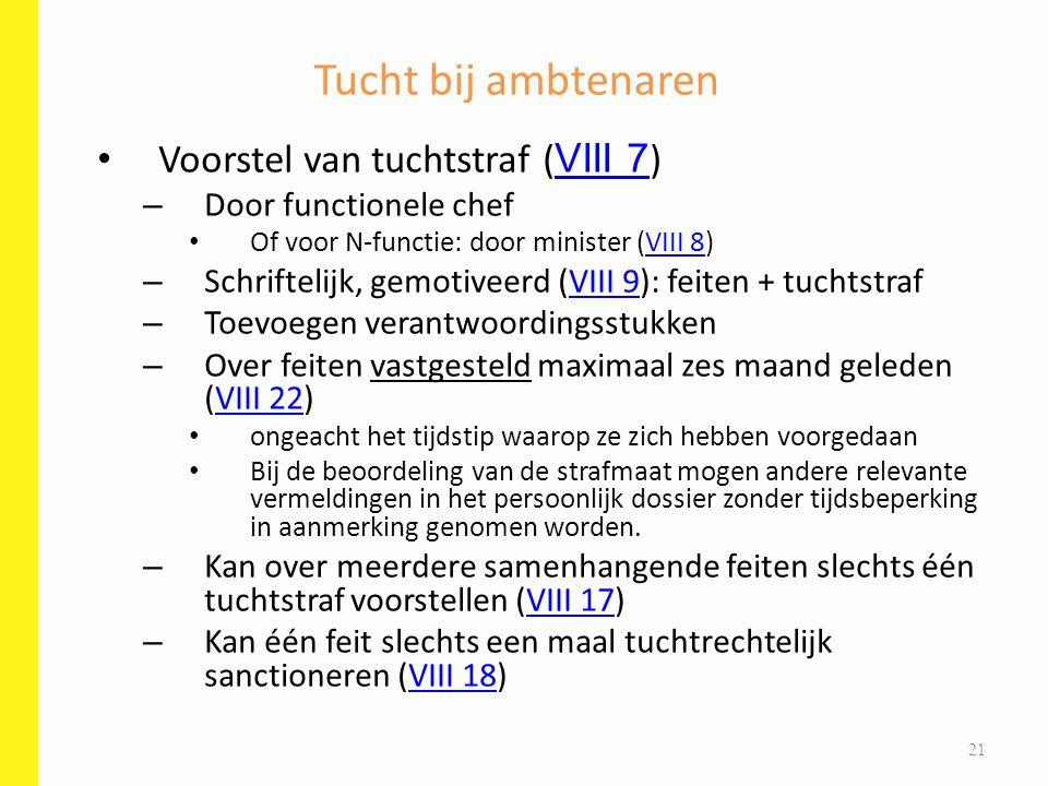 Voorstel van tuchtstraf ( VIII 7 ) VIII 7 – Door functionele chef Of voor N-functie: door minister (VIII 8)VIII 8 – Schriftelijk, gemotiveerd (VIII 9)
