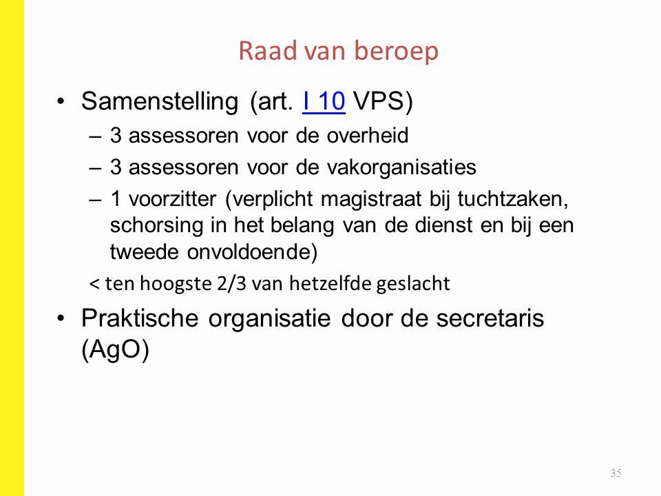 Samenstelling (art. I 10 VPS)I 10 –3 assessoren voor de overheid –3 assessoren voor de vakorganisaties –1 voorzitter (verplicht magistraat bij tuchtza