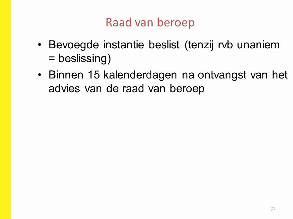 Bevoegde instantie beslist (tenzij rvb unaniem = beslissing) Binnen 15 kalenderdagen na ontvangst van het advies van de raad van beroep Raad van beroe