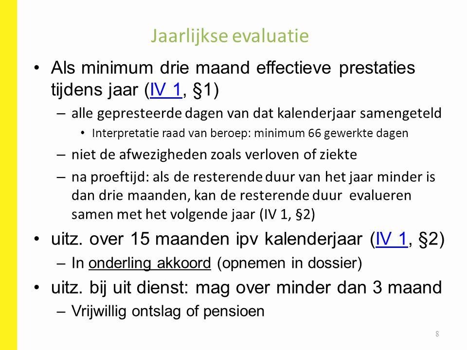 Begin van het jaar: planning –Niet geregeld in het VPS –niet akkoord met planning HR: overleg evaluator en de functiehouder (evt.