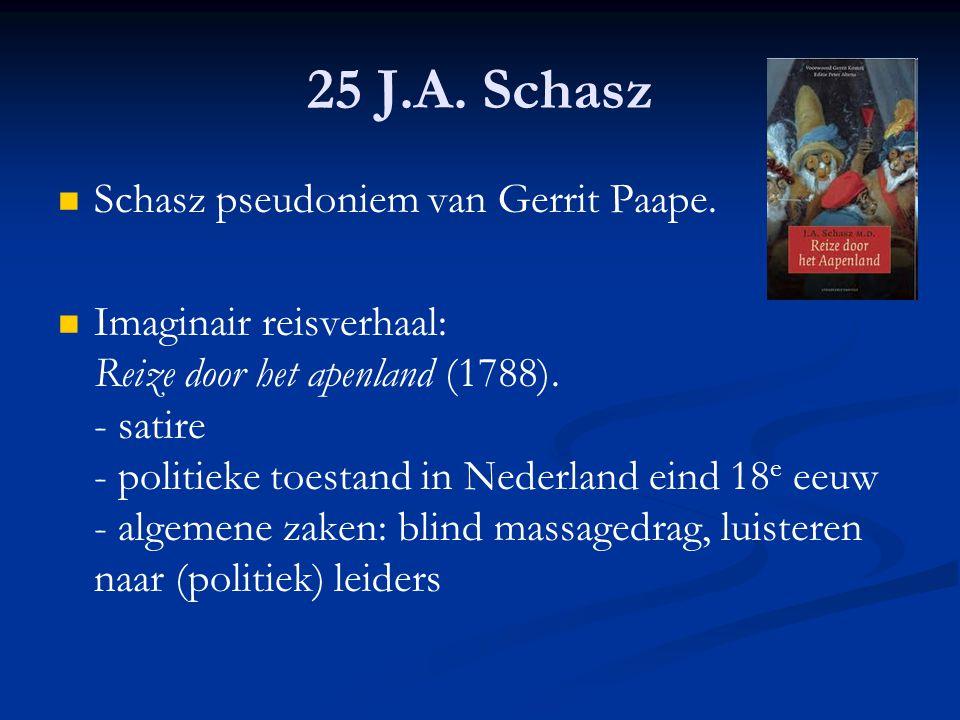 25 J.A. Schasz Schasz pseudoniem van Gerrit Paape. Imaginair reisverhaal: Reize door het apenland (1788). - satire - politieke toestand in Nederland e