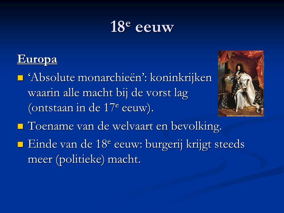 18 e eeuw Europa 'Absolute monarchieën': koninkrijken waarin alle macht bij de vorst lag (ontstaan in de 17 e eeuw). 'Absolute monarchieën': koninkrij