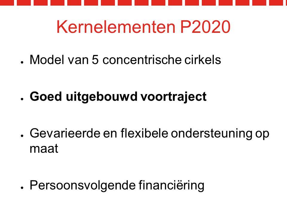 Kernelementen P2020 ● Model van 5 concentrische cirkels ● Goed uitgebouwd voortraject ● Gevarieerde en flexibele ondersteuning op maat ● Persoonsvolgende financiëring