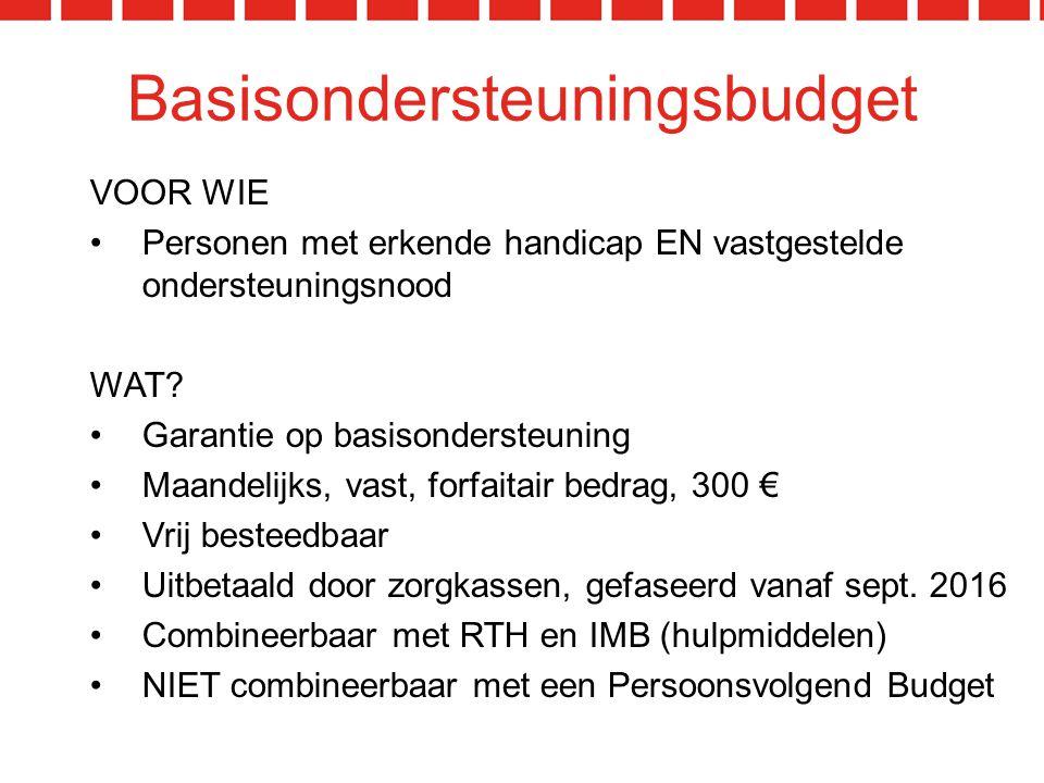 Basisondersteuningsbudget VOOR WIE Personen met erkende handicap EN vastgestelde ondersteuningsnood WAT.