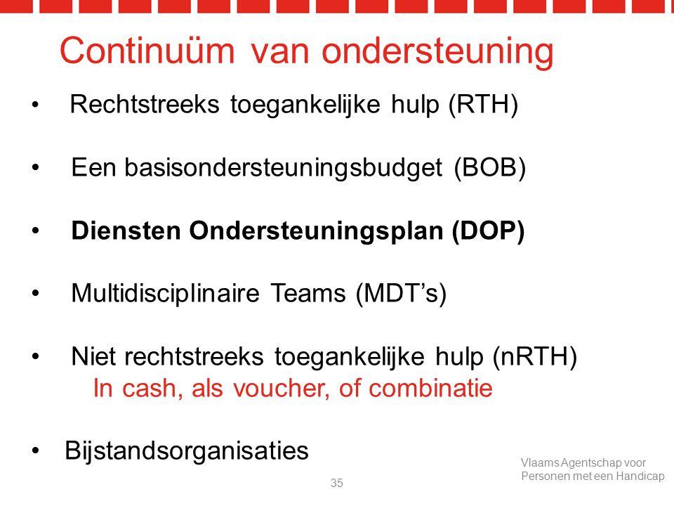 Continuüm van ondersteuning Rechtstreeks toegankelijke hulp (RTH) Een basisondersteuningsbudget (BOB) Diensten Ondersteuningsplan (DOP) Multidisciplinaire Teams (MDT's) Niet rechtstreeks toegankelijke hulp (nRTH) In cash, als voucher, of combinatie Bijstandsorganisaties 35 Vlaams Agentschap voor Personen met een Handicap