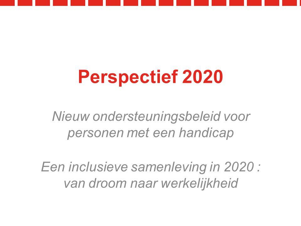 Perspectief 2020 Een inclusieve samenleving in 2020 : van droom naar werkelijkheid Nieuw ondersteuningsbeleid voor personen met een handicap