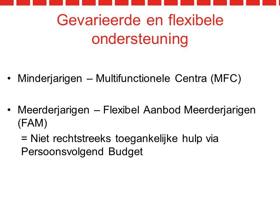 Gevarieerde en flexibele ondersteuning Minderjarigen – Multifunctionele Centra (MFC) Meerderjarigen – Flexibel Aanbod Meerderjarigen (FAM) = Niet rechtstreeks toegankelijke hulp via Persoonsvolgend Budget