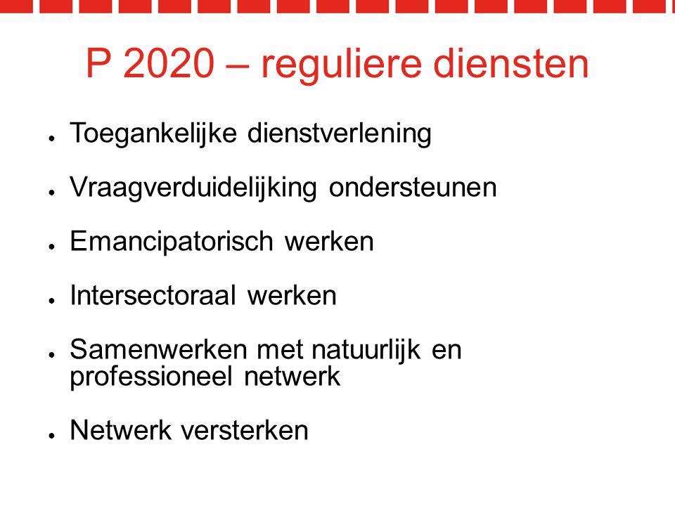 P 2020 – reguliere diensten ● Toegankelijke dienstverlening ● Vraagverduidelijking ondersteunen ● Emancipatorisch werken ● Intersectoraal werken ● Samenwerken met natuurlijk en professioneel netwerk ● Netwerk versterken