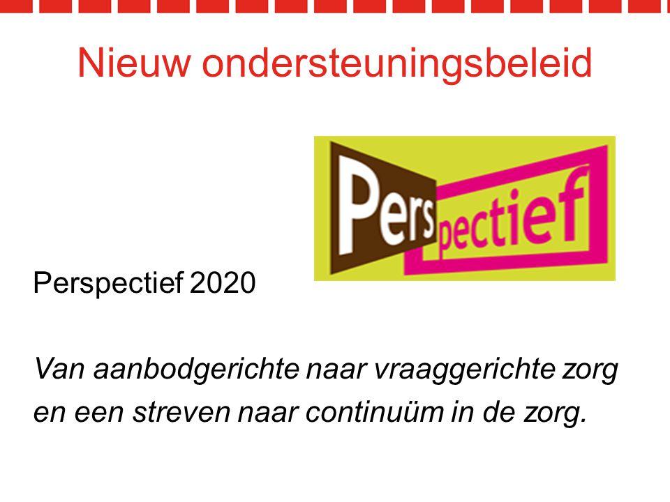 Nieuw ondersteuningsbeleid Perspectief 2020 Van aanbodgerichte naar vraaggerichte zorg en een streven naar continuüm in de zorg.
