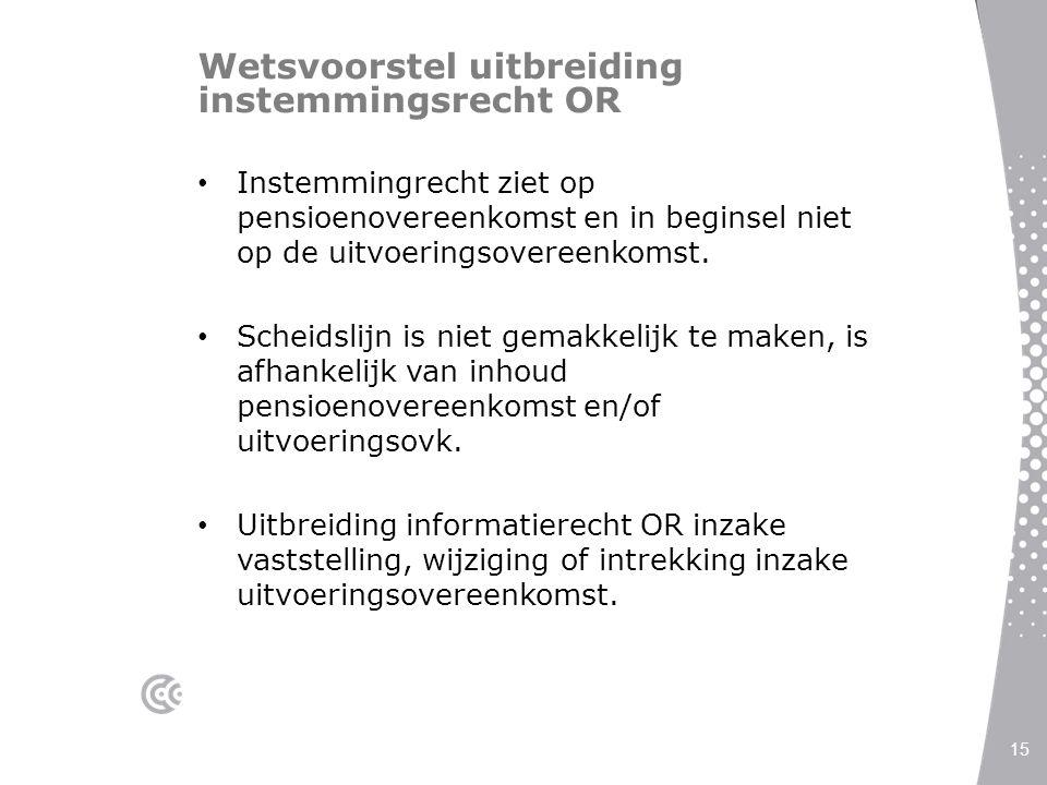 Wetsvoorstel uitbreiding instemmingsrecht OR Instemmingrecht ziet op pensioenovereenkomst en in beginsel niet op de uitvoeringsovereenkomst. Scheidsli