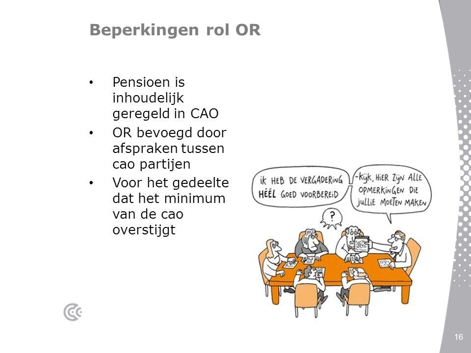 Beperkingen rol OR Pensioen is inhoudelijk geregeld in CAO OR bevoegd door afspraken tussen cao partijen Voor het gedeelte dat het minimum van de cao
