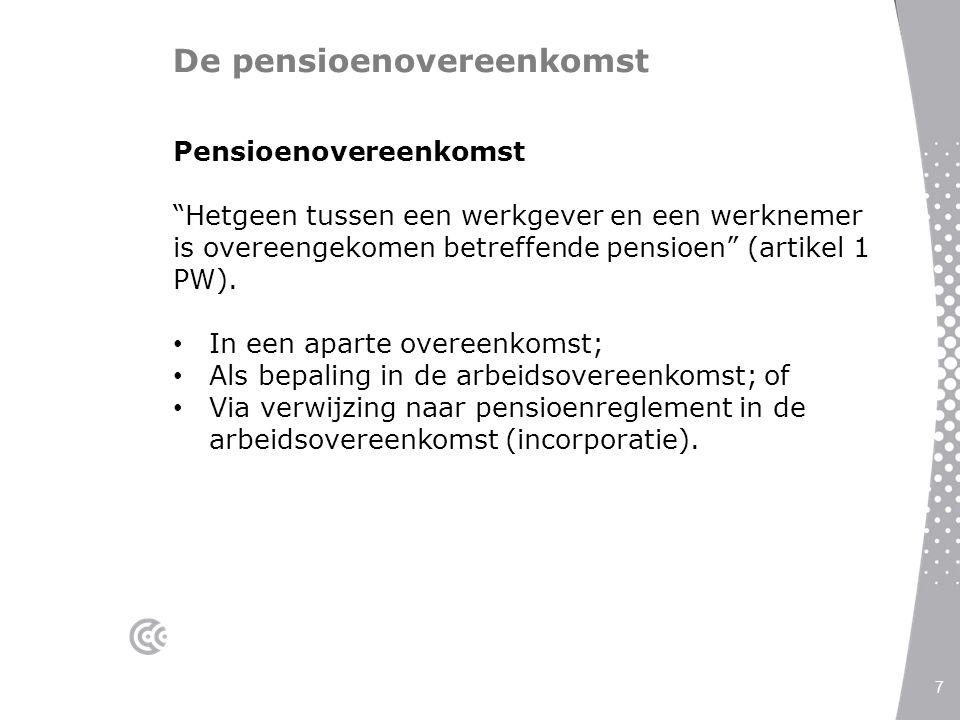 """De pensioenovereenkomst 7 Pensioenovereenkomst """"Hetgeen tussen een werkgever en een werknemer is overeengekomen betreffende pensioen"""" (artikel 1 PW)."""