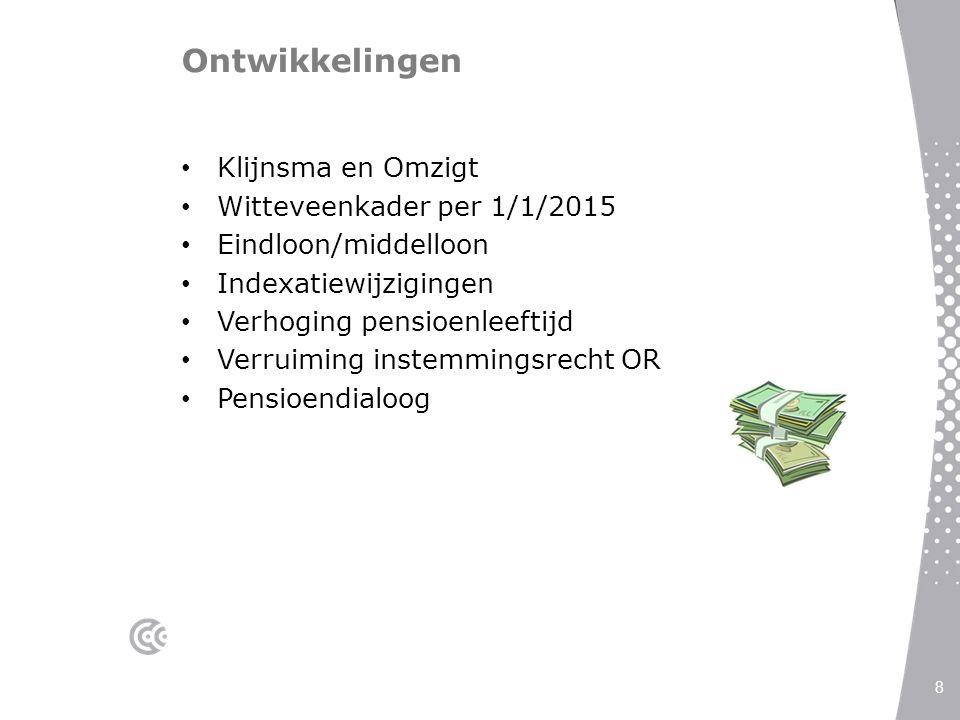 Ontwikkelingen Klijnsma en Omzigt Witteveenkader per 1/1/2015 Eindloon/middelloon Indexatiewijzigingen Verhoging pensioenleeftijd Verruiming instemmin