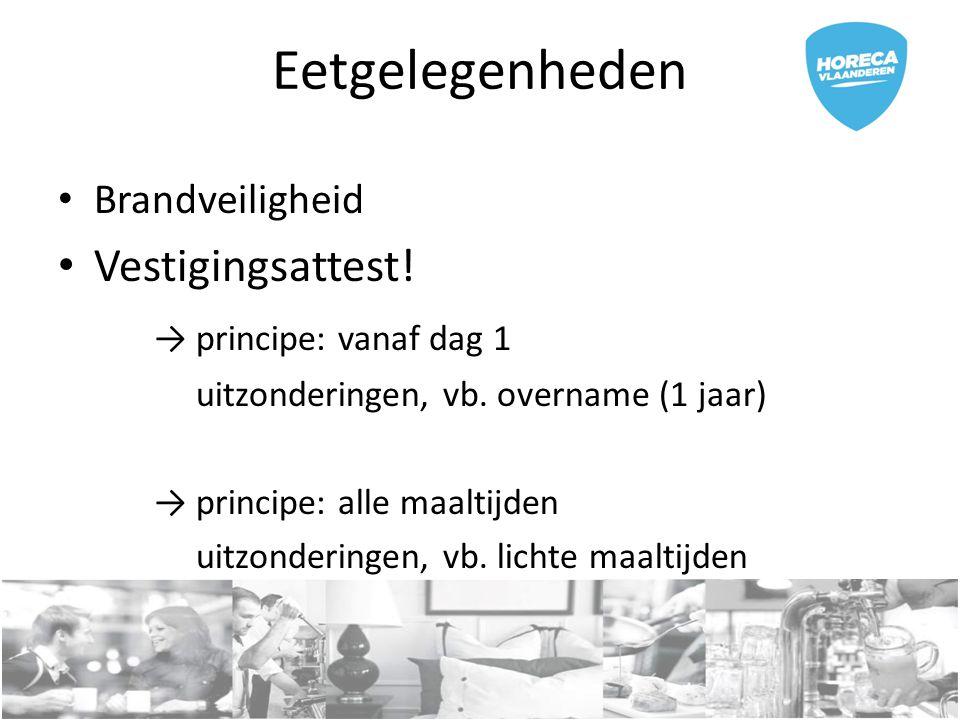 Eetgelegenheden Brandveiligheid Vestigingsattest.→ principe: vanaf dag 1 uitzonderingen, vb.