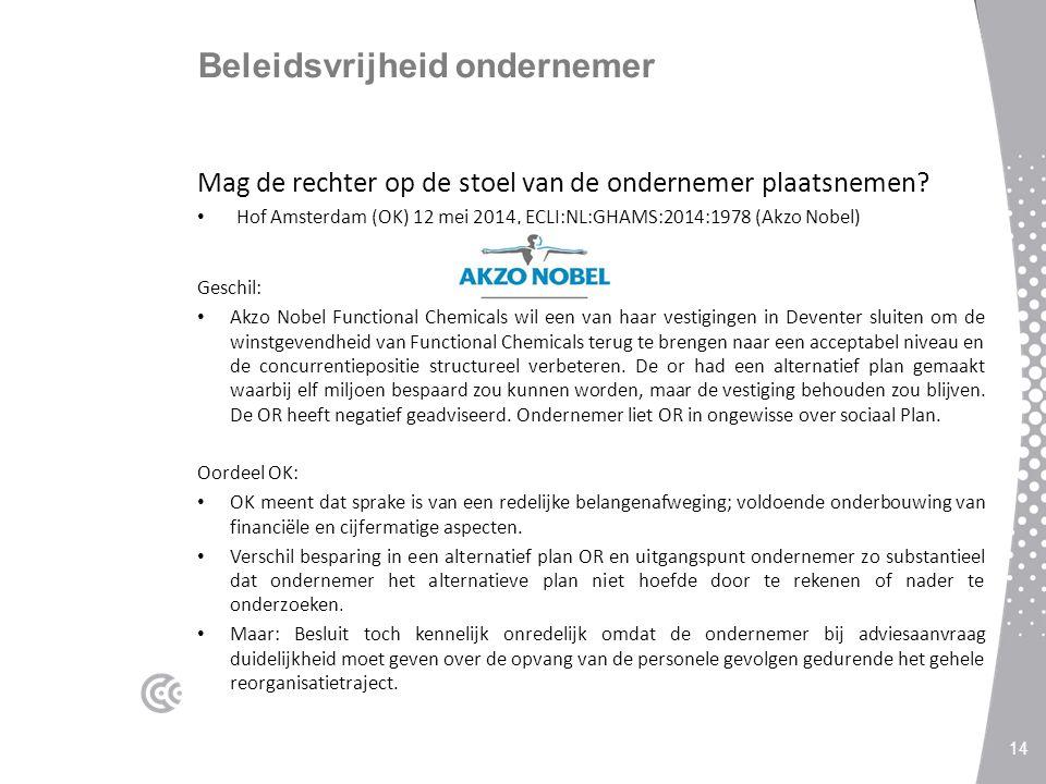 Beleidsvrijheid ondernemer Mag de rechter op de stoel van de ondernemer plaatsnemen? Hof Amsterdam (OK) 12 mei 2014, ECLI:NL:GHAMS:2014:1978 (Akzo Nob