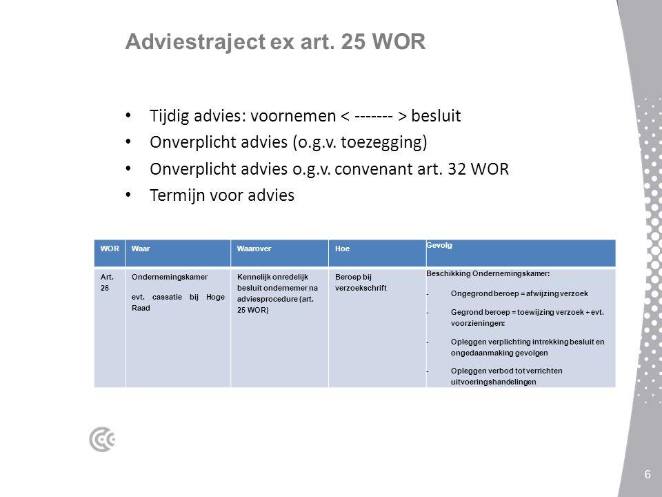Adviestraject ex art. 25 WOR Tijdig advies: voornemen besluit Onverplicht advies (o.g.v. toezegging) Onverplicht advies o.g.v. convenant art. 32 WOR T