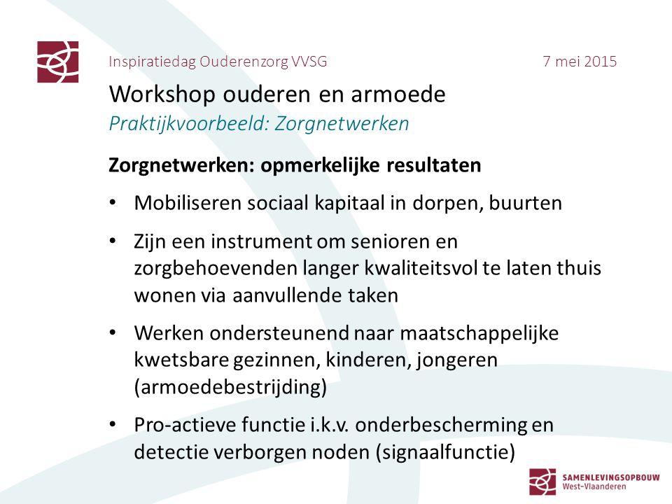 Inspiratiedag Ouderenzorg VVSG 7 mei 2015 Workshop ouderen en armoede Praktijkvoorbeeld: Zorgnetwerken Zorgnetwerken: opmerkelijke resultaten Mobilise